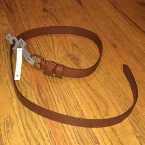 Lost Brown and gold leather belt NWT large